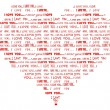 Stock Photo: Heart shaped I love you red word cloud