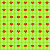 Red hearts on green tablecloth seamless background — Stock fotografie