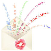 Lips print on the envelope with I love you message multilingual — Stock Photo