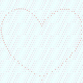 Dotty seamless background with heart organized of red dots — Stock Photo