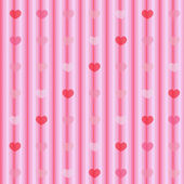 Pink and red hearts on striped cloth seamless background — Stock Photo