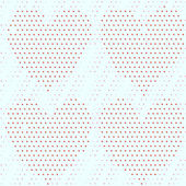 Red dots heart over blue dots background seamless pattern — Stock Vector