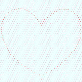 Dotty seamless background with heart organized of red dots — Cтоковый вектор