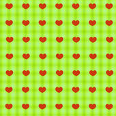 Red hearts on green tablecloth seamless background — Stock Vector