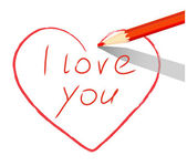 Red heart drawn with pencil I love you — Stock Vector