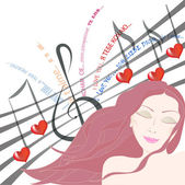 Pretty woman listening to love song with eyes closed — Stock Vector