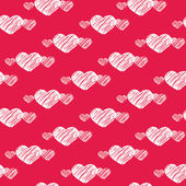 White scratch hearts on red seamless pattern — Stok Vektör