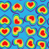 Rainbow hearts seamless pattern — Stock Vector