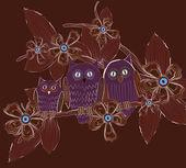Big eyes owls family at night — Stock Vector