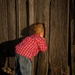 Young Boy Peeks in the Barn — Stock fotografie