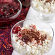 Cottage cheese with jam and chocolate — Stock Photo