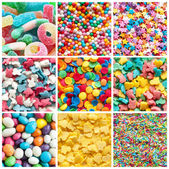 Colorful collage of various candies and sweets — Stok fotoğraf