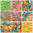 Stock Photo: Colorful collage of various candies and sweets as background