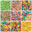 Colorful collage of various candies and sweets as background — Stock Photo