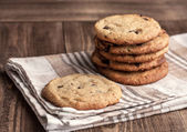Stack of Freshly baked chocolate chip cookies — Stock Photo