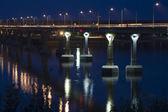 The bridge across the Volga river in Volgograd — Stock Photo
