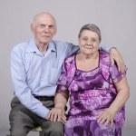 Portrait of an elderly couple eighty years — Stock Photo