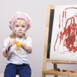Portrait of a girl artist at the easel — Stock Photo #40722895