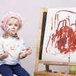 Stockfoto: Portrait of girl artist at easel