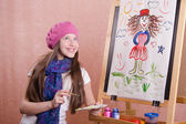Painter girl thought about his work — Stock Photo