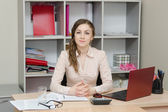 Portrait of a girl in the head office — Stock Photo