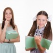 Trainee writes in a notebook, the teacher pleased — Stock Photo #50561679