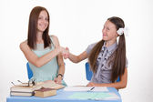 Teacher and student shake hands with each other — Stock Photo