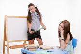 Teacher at blackboard teacher saw that she fell asleep — Stock fotografie