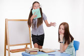 Teacher went to sleep as student meets blackboard — Stock Photo