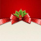 Fondo de Navidad rojo y blanco con cinta — Vector de stock