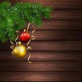 Vánoční dekorace. dřevěné pozadí — Stock vektor