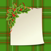 Christmas decoration. Sheet of paper on green — Stock Vector