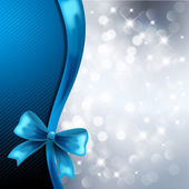 Hollyblue Christmas background with ribbon — Stock Vector
