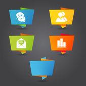 Origami communication banner folder — Stock Vector