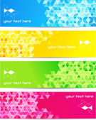 Set of abstract banner with square shapes — Stock Vector