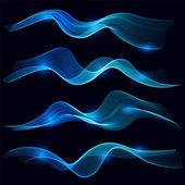 Sada z modrého kouře vlny v tmavém pozadí — Stock vektor