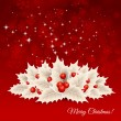 Vector christmas background with bow and holly — Stock Vector #33717895