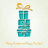 Vector Merry Christmas Paper greeting card — Stock Vector