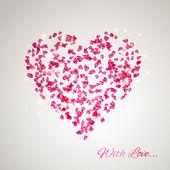 Heart from the gentle rose petals — Stock Vector