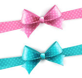 Vector isolated blue and pink polka dots bow — Wektor stockowy