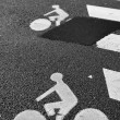 Bicycle road sign painted on asphalt — Stock Photo #22512673