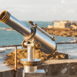 Telescope and View from Saint-Malo, Normandy, France — Stock Photo #22513893