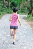 Woman runner running in forest trail — Stock Photo