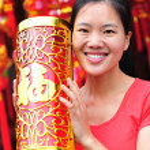 Woman wishing a happy chinese new year — Stock Photo #23269222