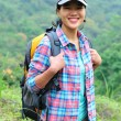 Young asian woman hiker mountain — Stock Photo