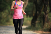 Woman running at trail in forest — Stock Photo