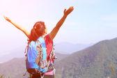 Woman climber on mountain peak — Stock Photo