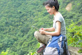 Woman hiker use tablet pc — Photo