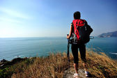 Hiking woman stand seaside mountain rock — Stock Photo