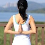Young woman doing yoga exercises — Stock Photo #41722915